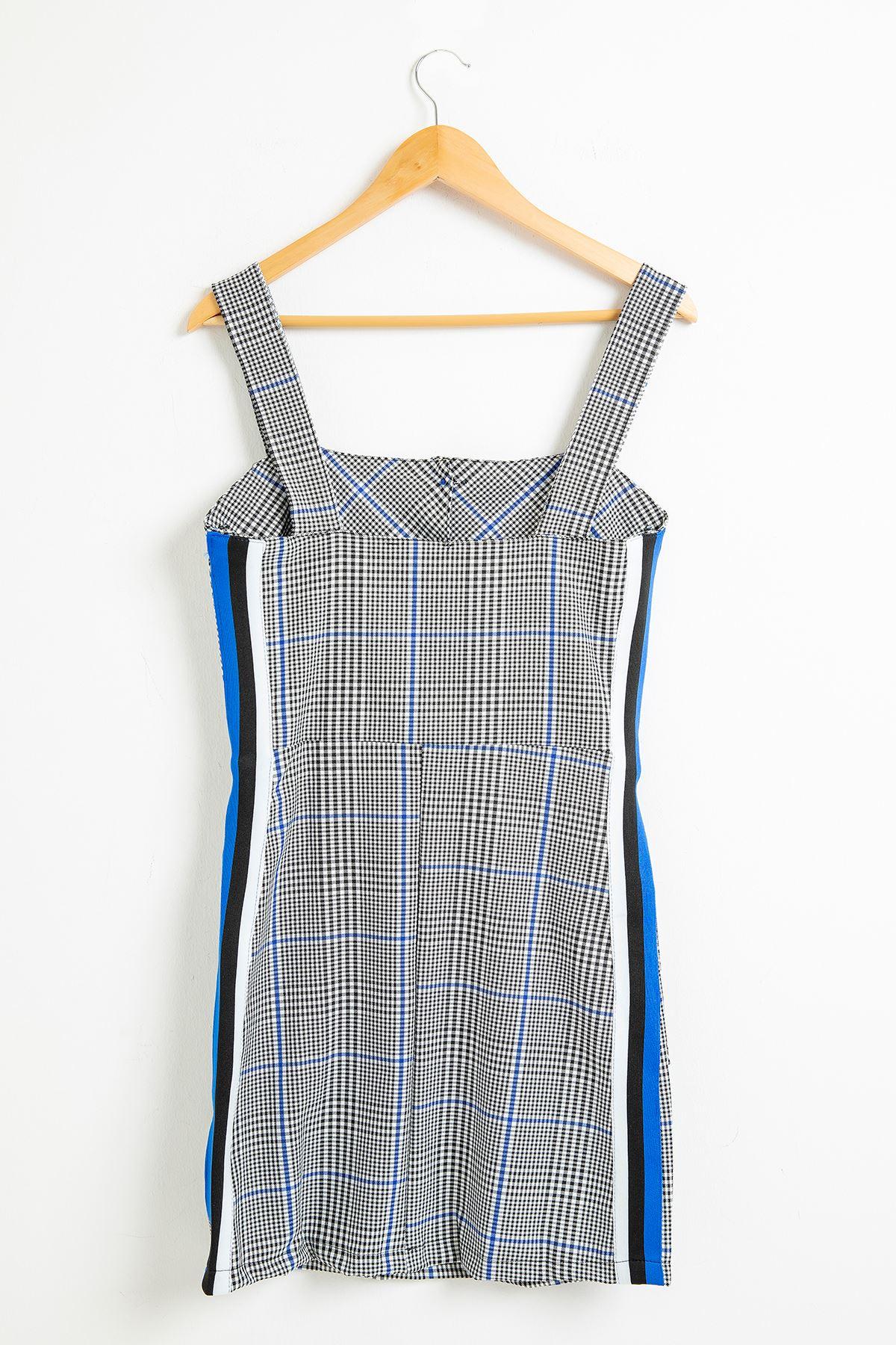 Ekose Kalın Askılı Elbise-Saks