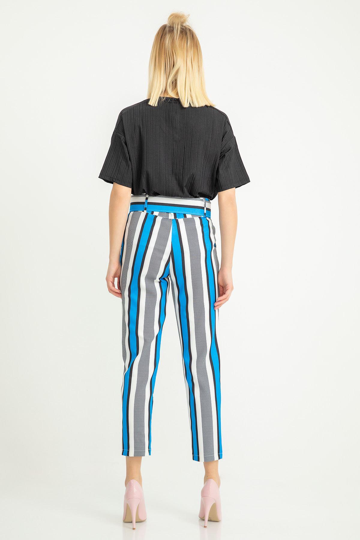 Çizgili Kemerli Atlas Kumaş Pantolon-Saks
