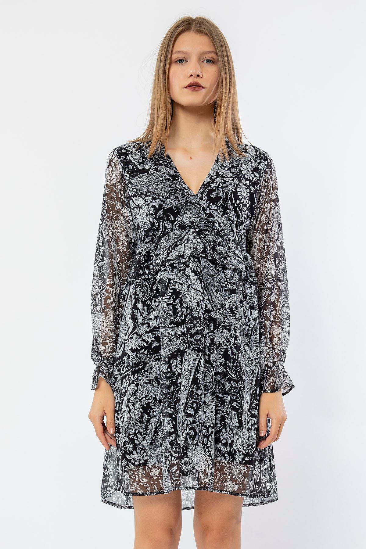Şal Desen Şifon Elbise-Siyah