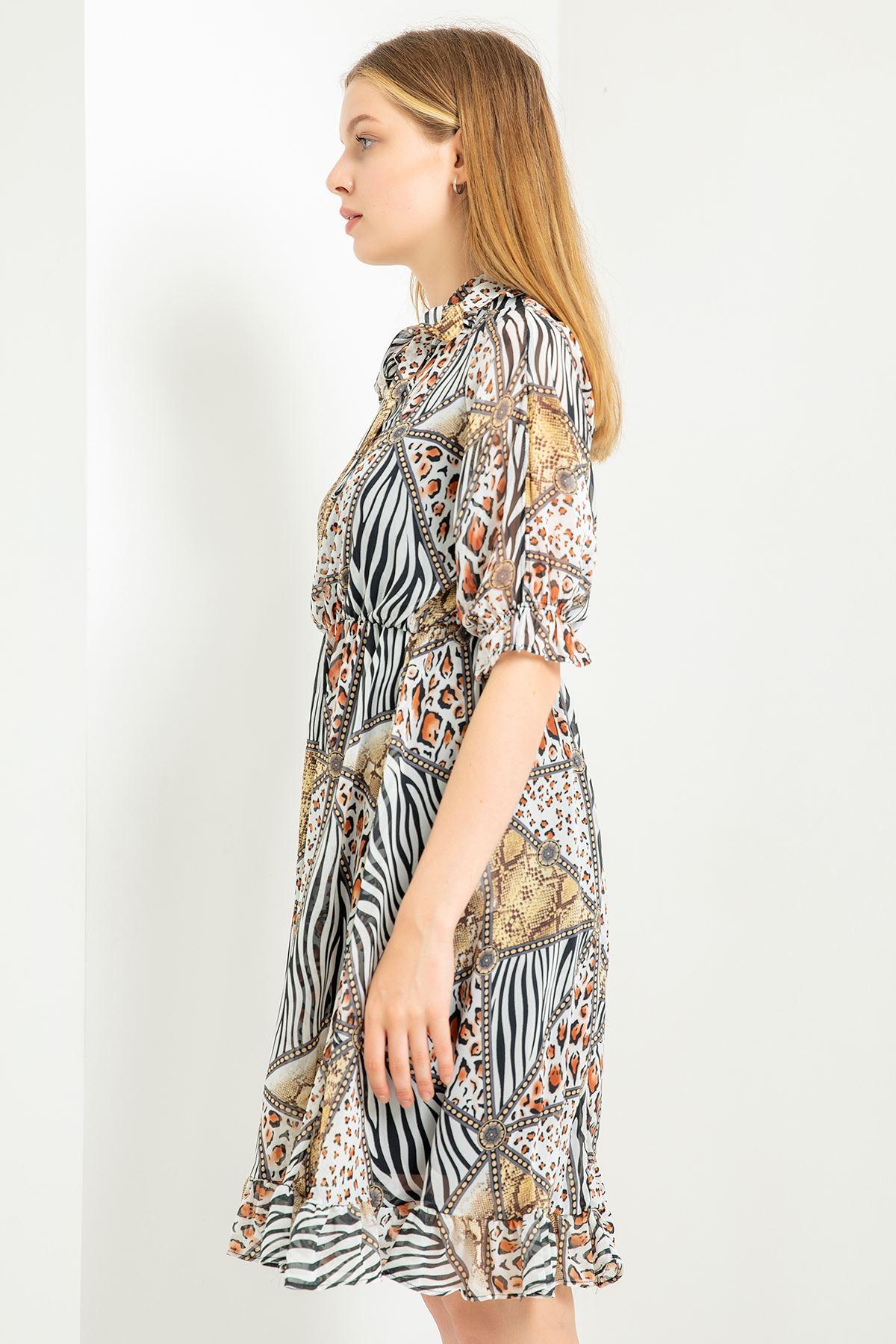 Pach Desen Kısa Kol Şifon Elbise-Siyah