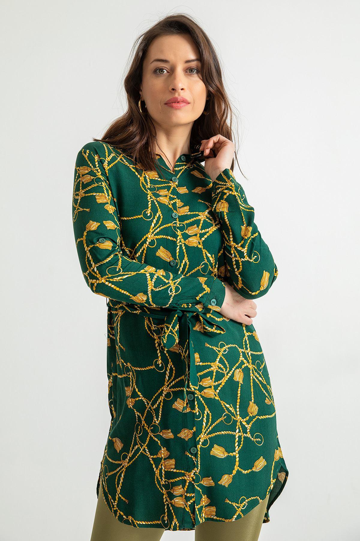 Püskül Desen Kuşaklı Tunik-Zümrüt Yeşil