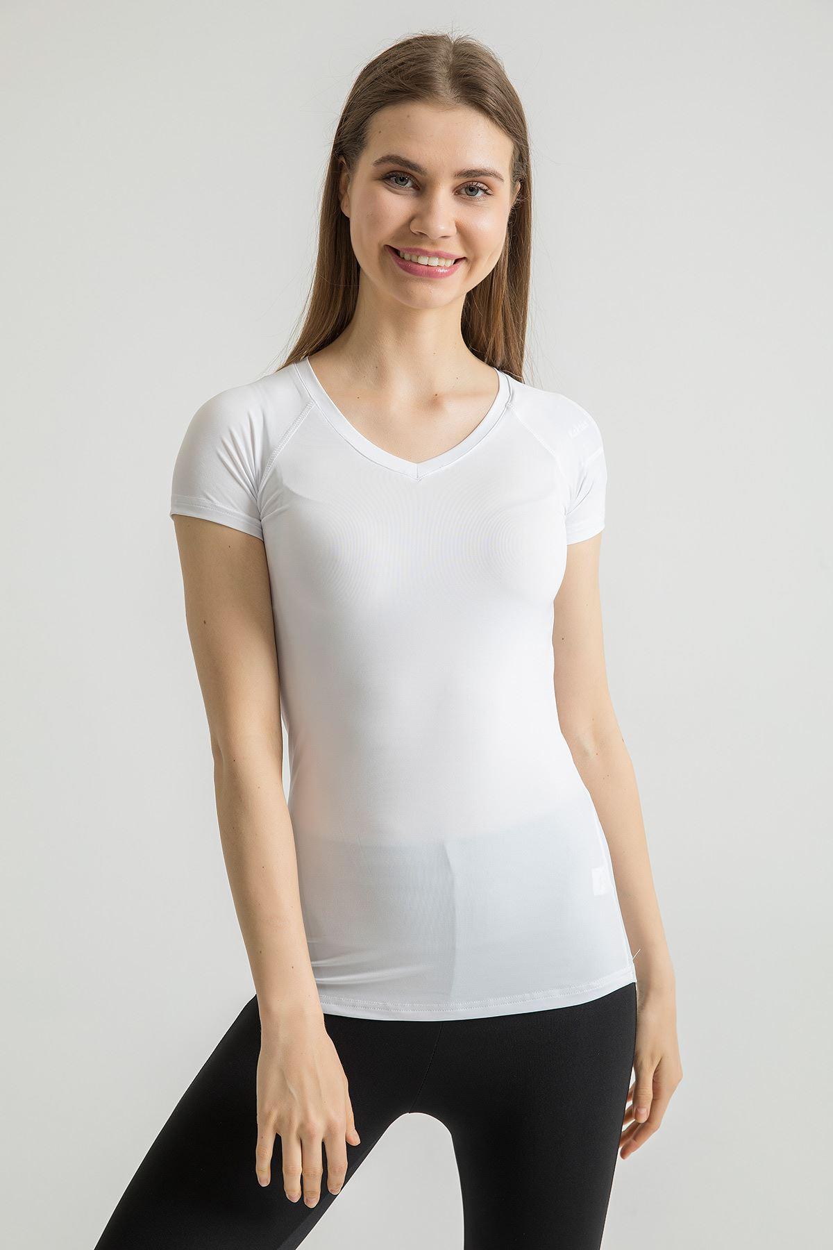 V Yaka Spor T-shirt-Beyaz