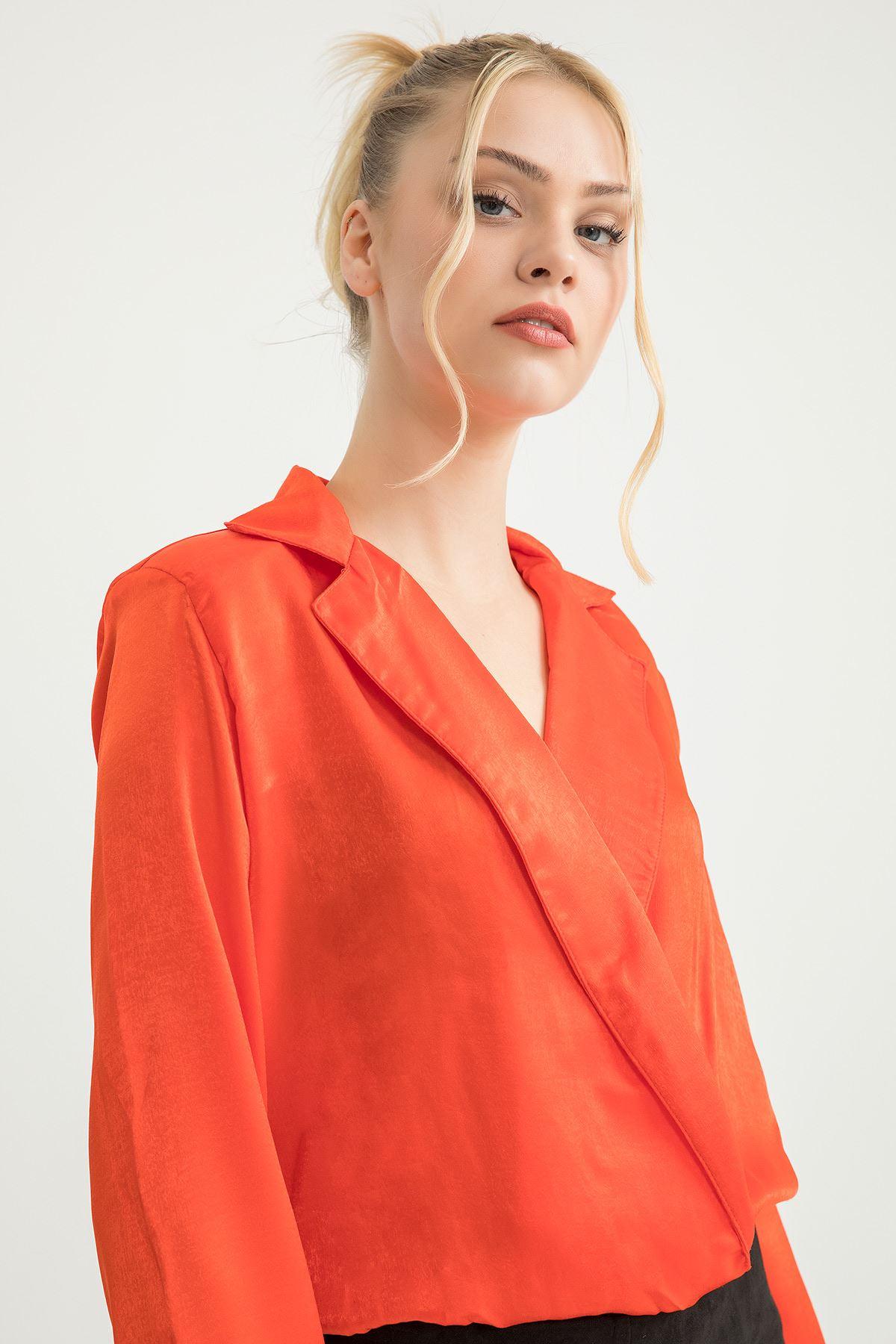 Ceket Yaka Body Bluz-Oranj