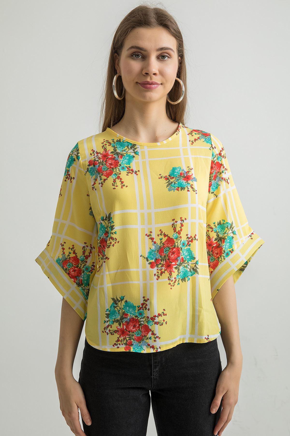 Çiçek Desen Bluz-Sarı