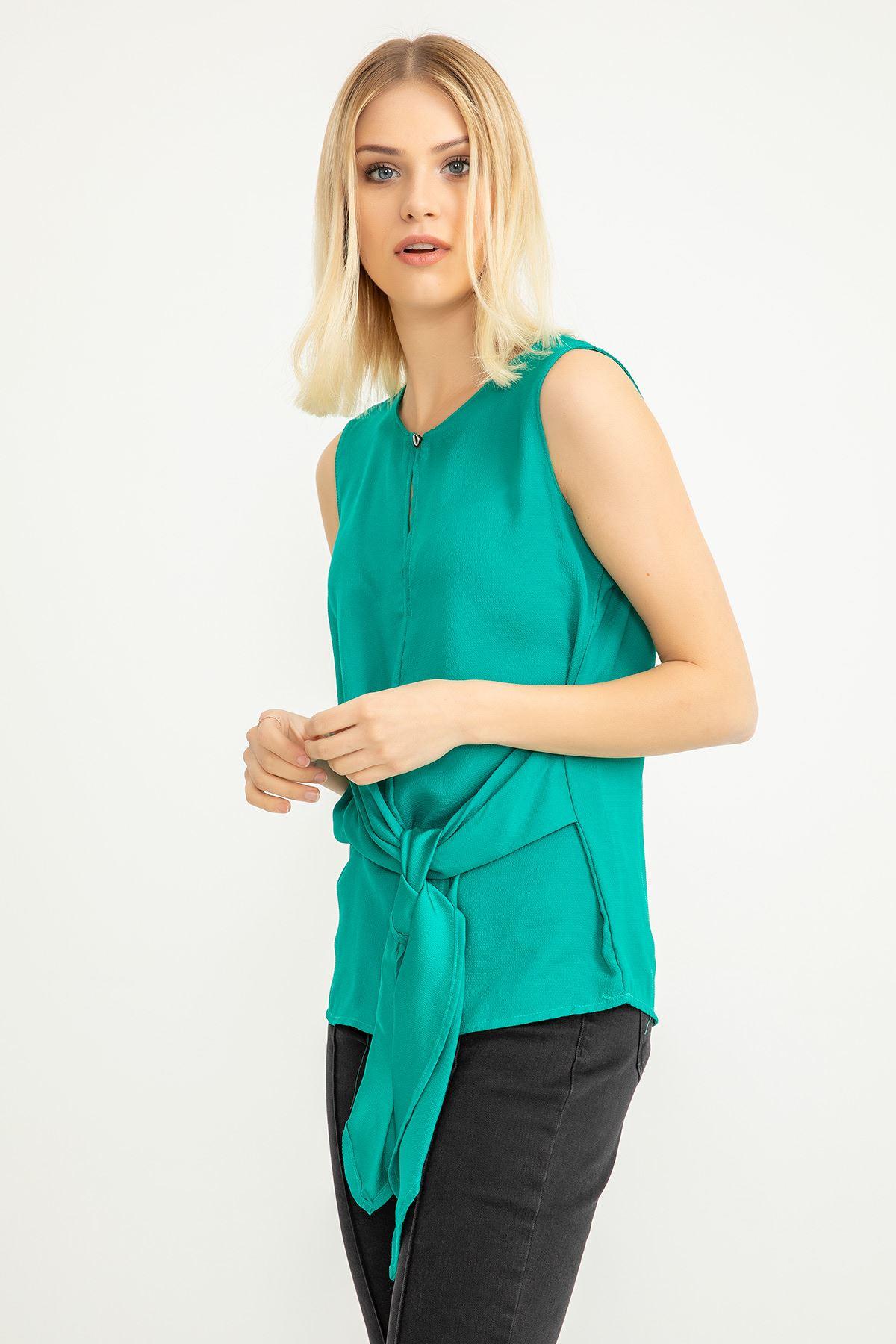 Önü Bağlamalı  Bluz-Yeşil
