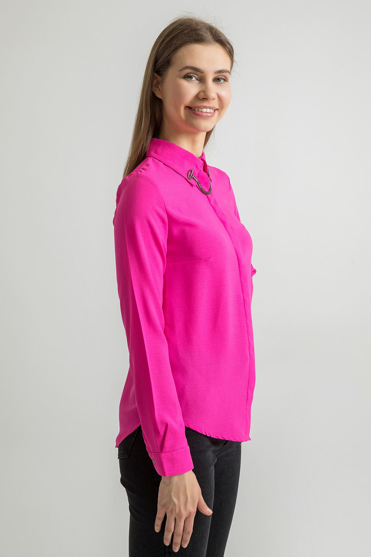 Yaka Aksesuarlı Gömlek-Fuşya