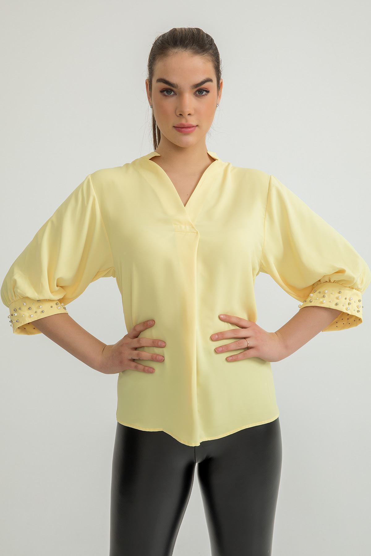 Kolları İnci Detay Jessica Gömlek-Sarı