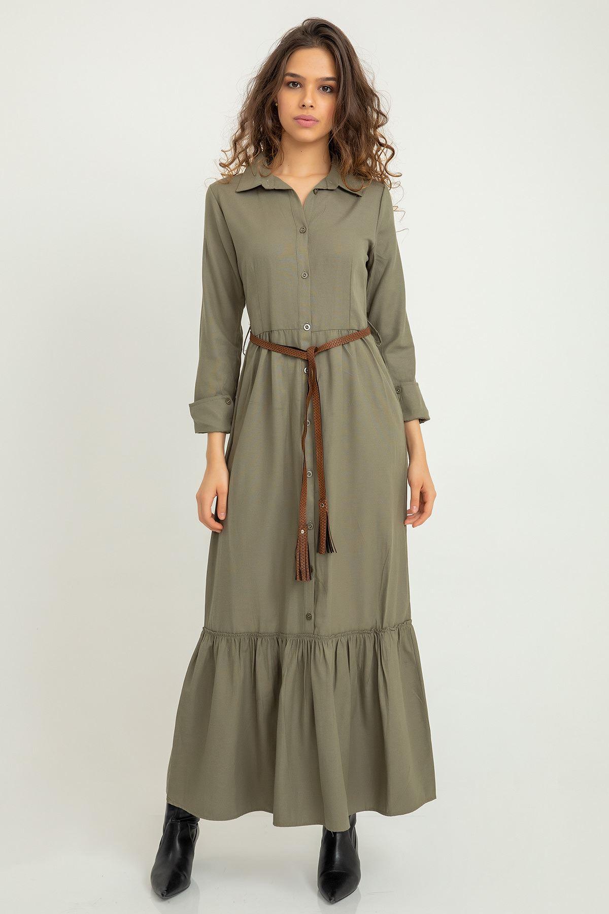 Kemerli Uzun Gömlek Elbise-Haki