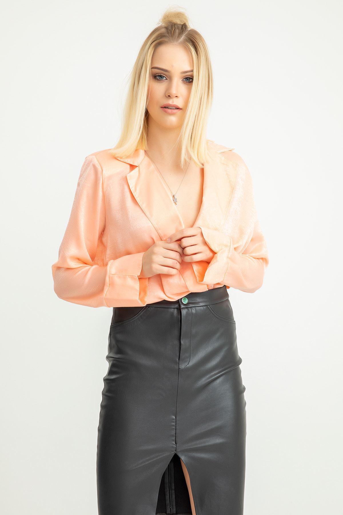 Ceket Yaka Body Bluz-Pudra