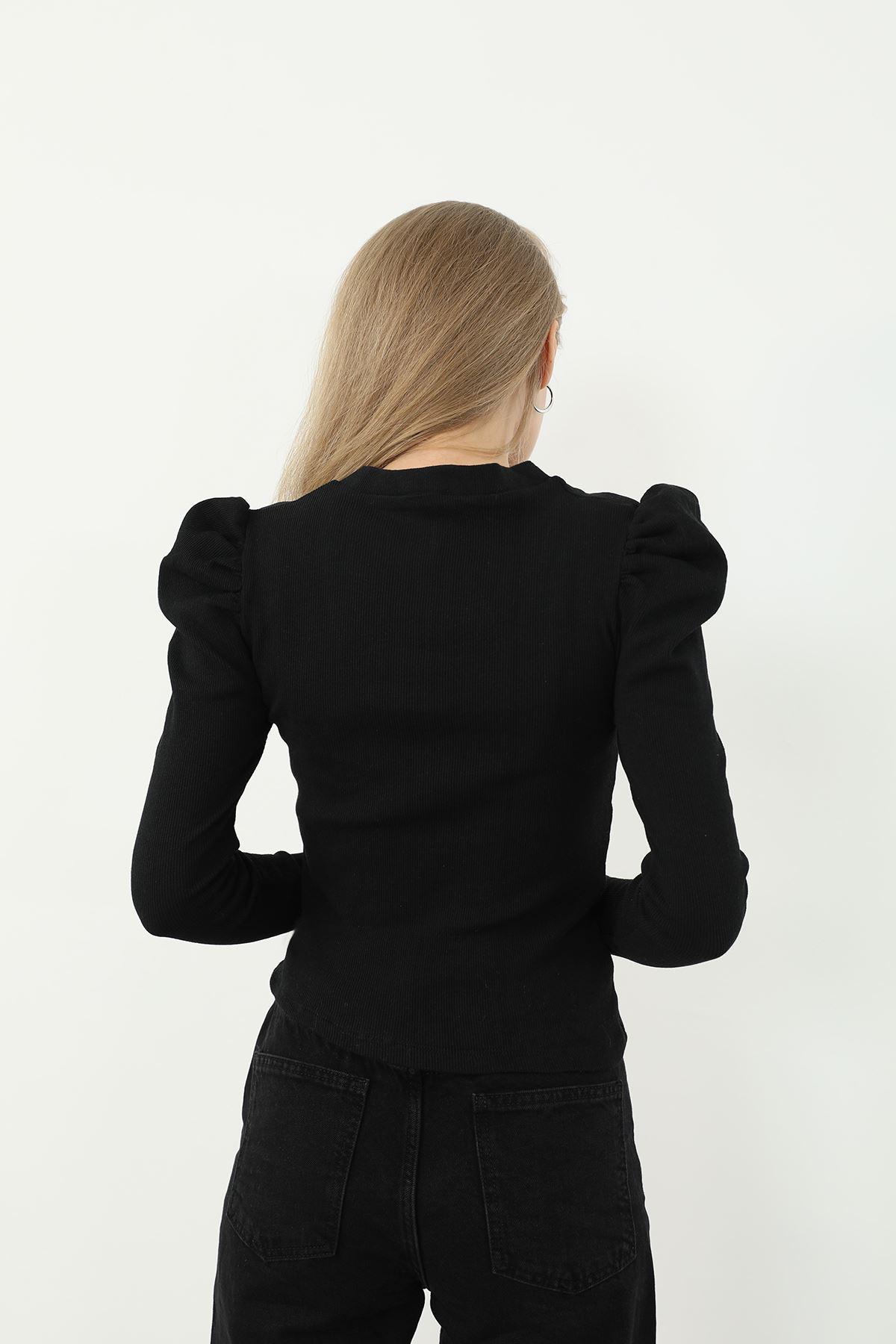 Dantel Detay Kaşkorse Bluz-Siyah