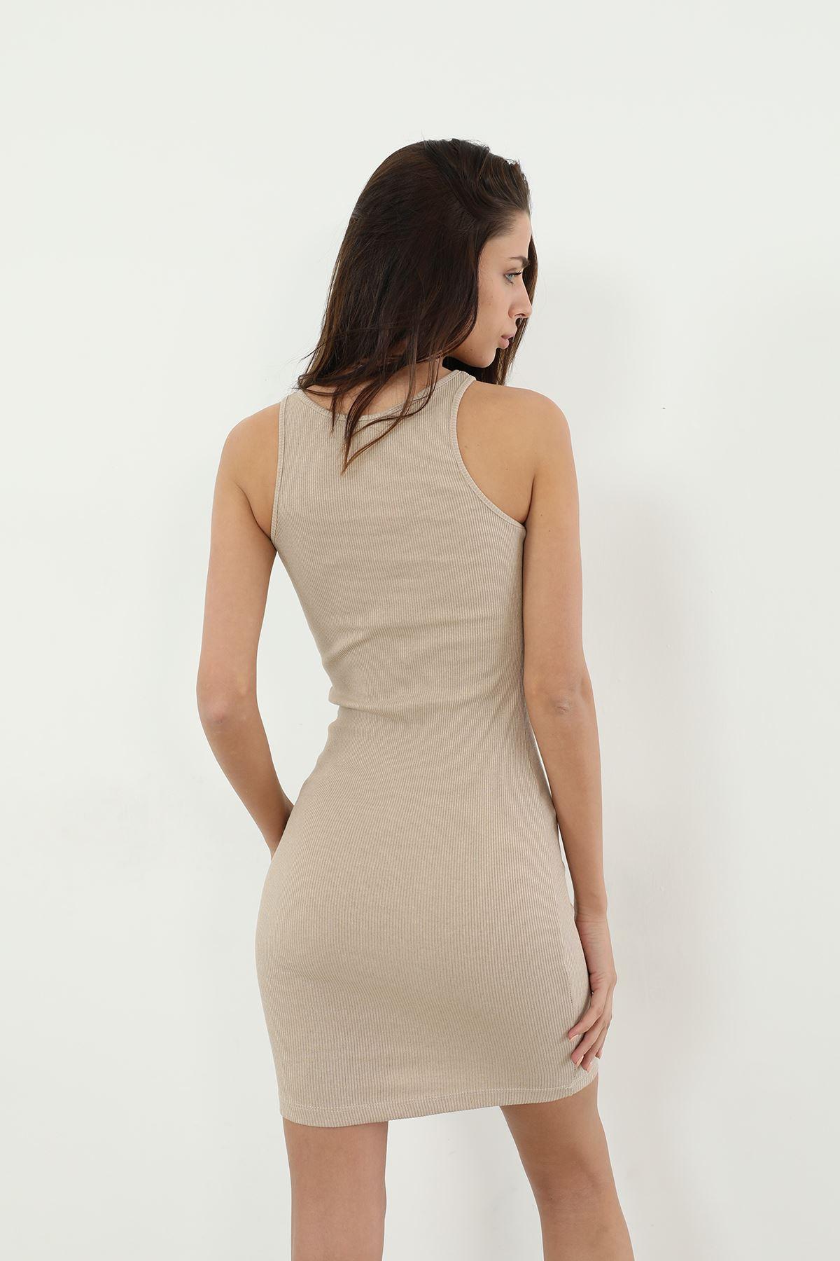 Askılı Kaşkorse Elbise-Taş