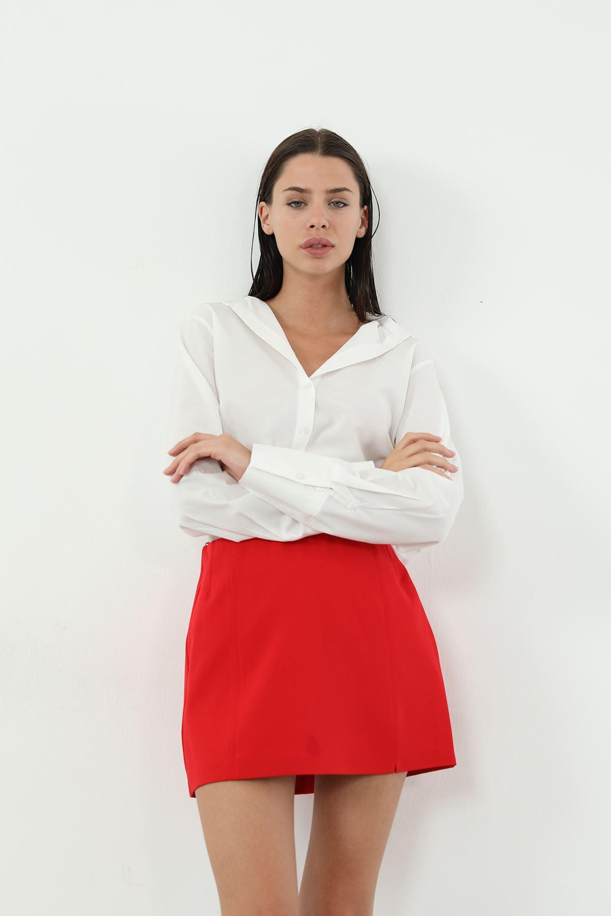 Ön Yırtmaçlı Mini Etek-Kırmızı