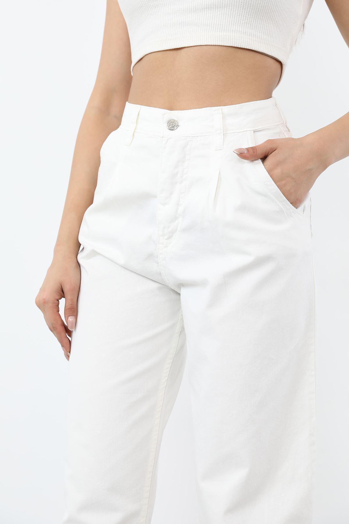 Pileli Mam Jeans-Beyaz