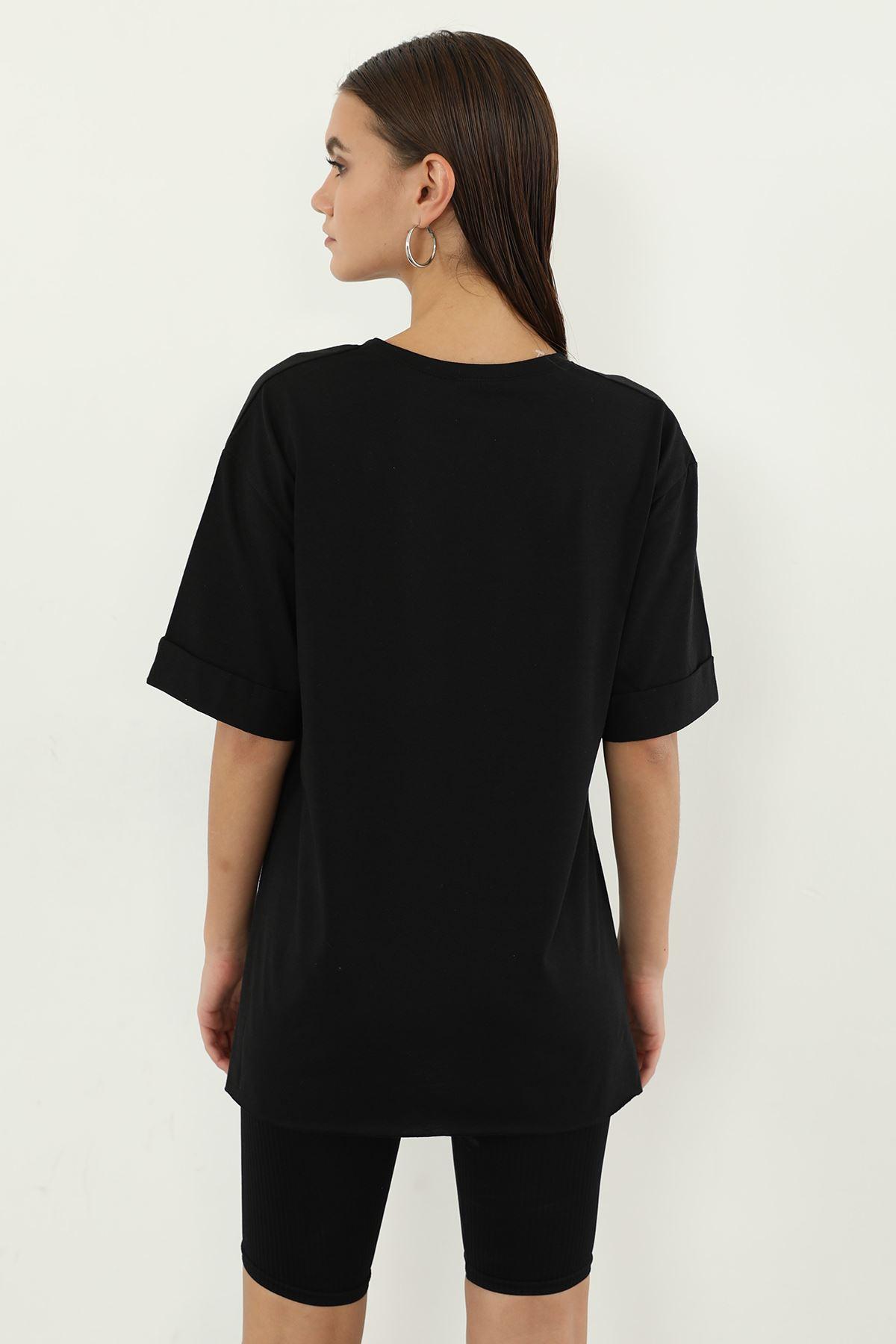 Yazı Baskılı T-shirt-Siyah
