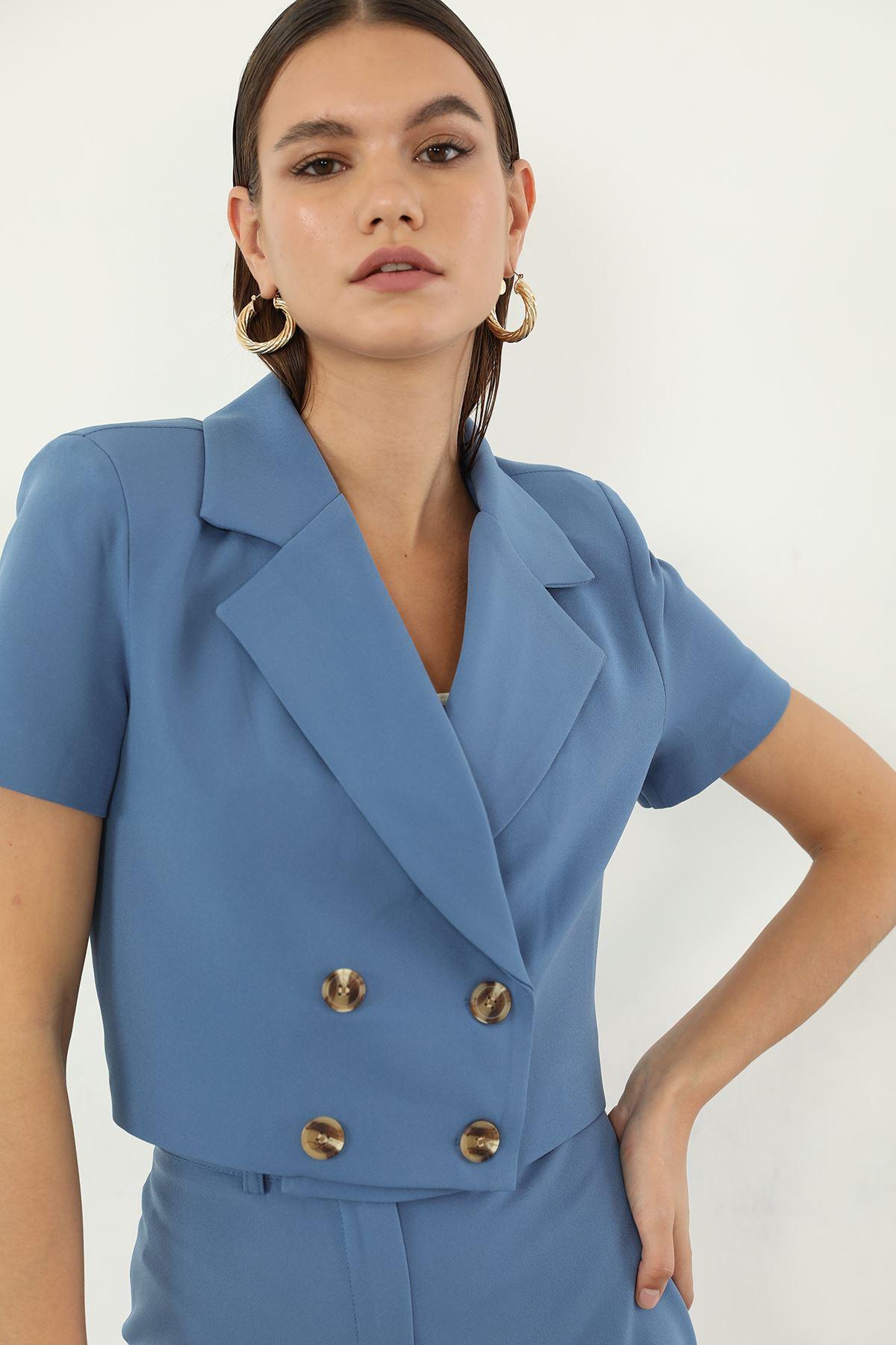 Düğmeli Ceket-İndigo