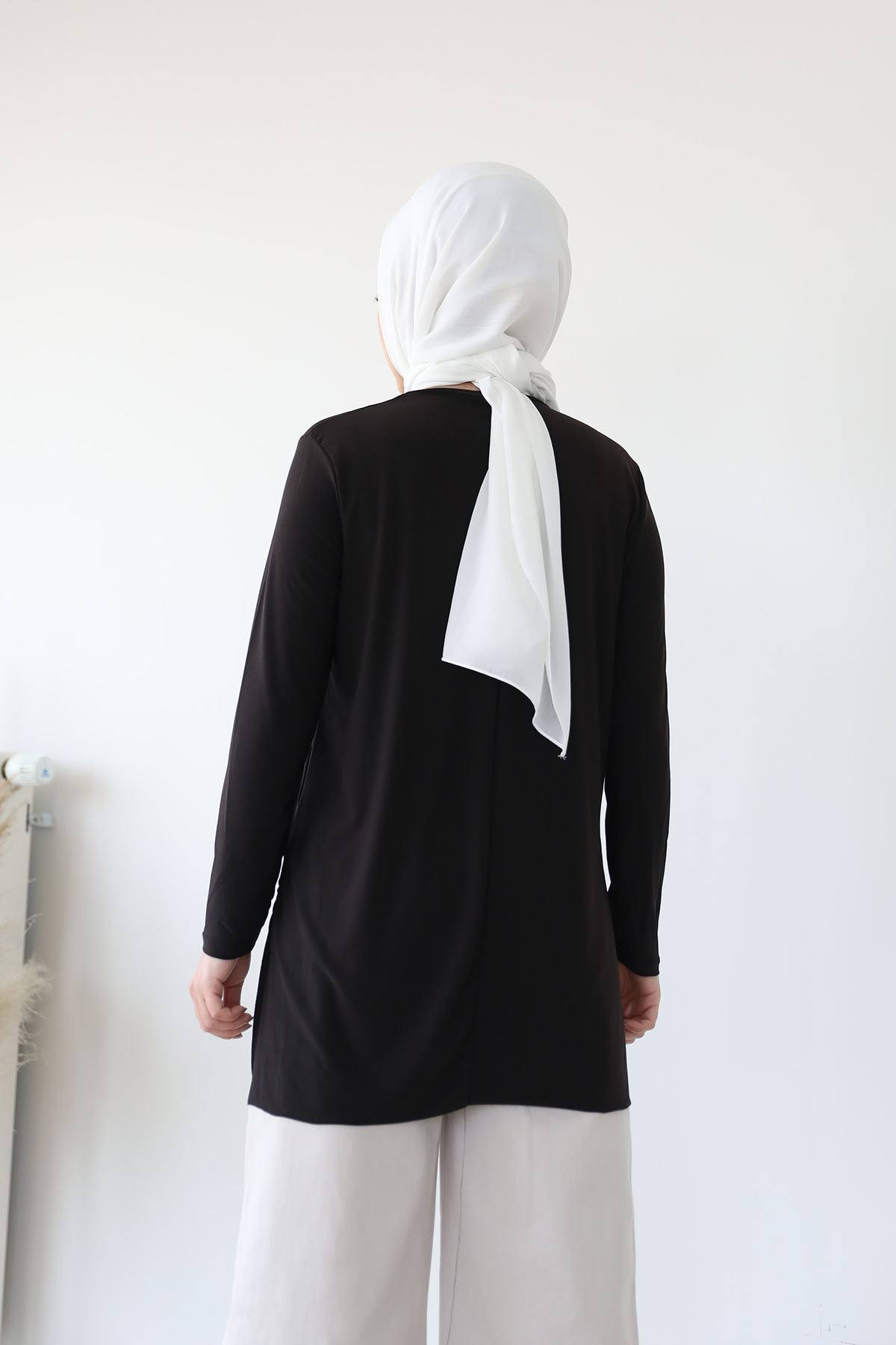 Yan Yırtmaç Detay Tunik-Siyah