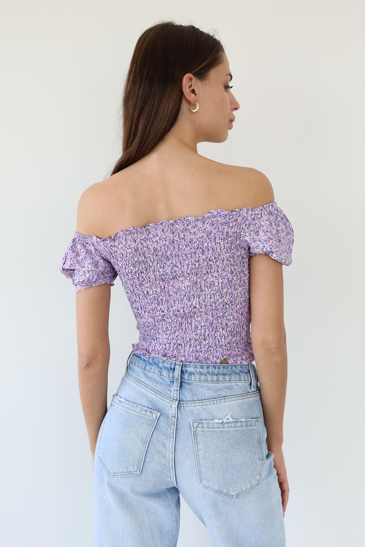 Çiçek Desen Gipeli Bluz-Lila