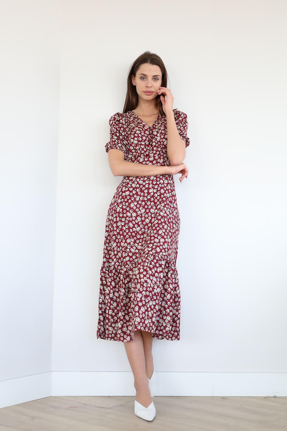 Çiçek Desen Fırfırlı Elbise-Bordo