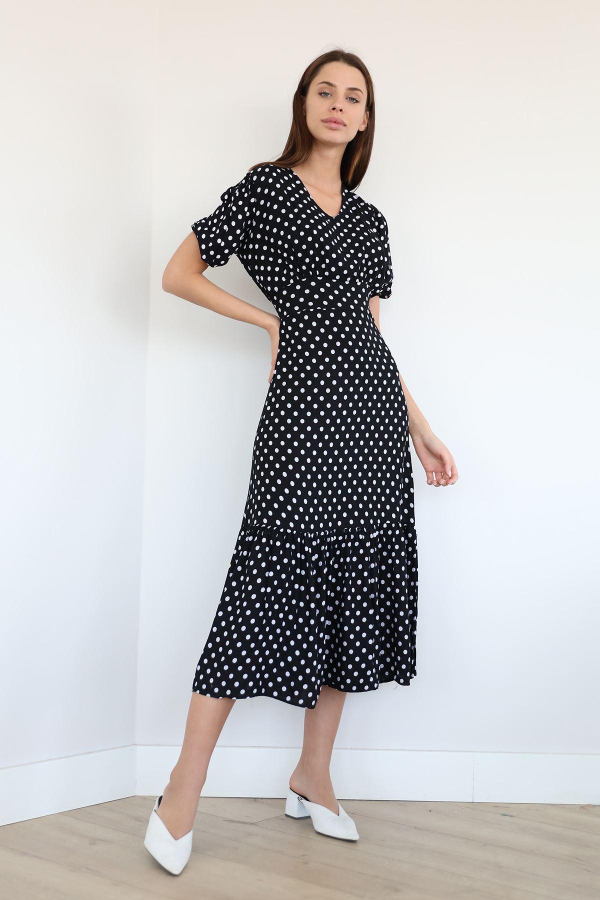 Çiçek Desen Fırfırlı Elbise-Puantiye