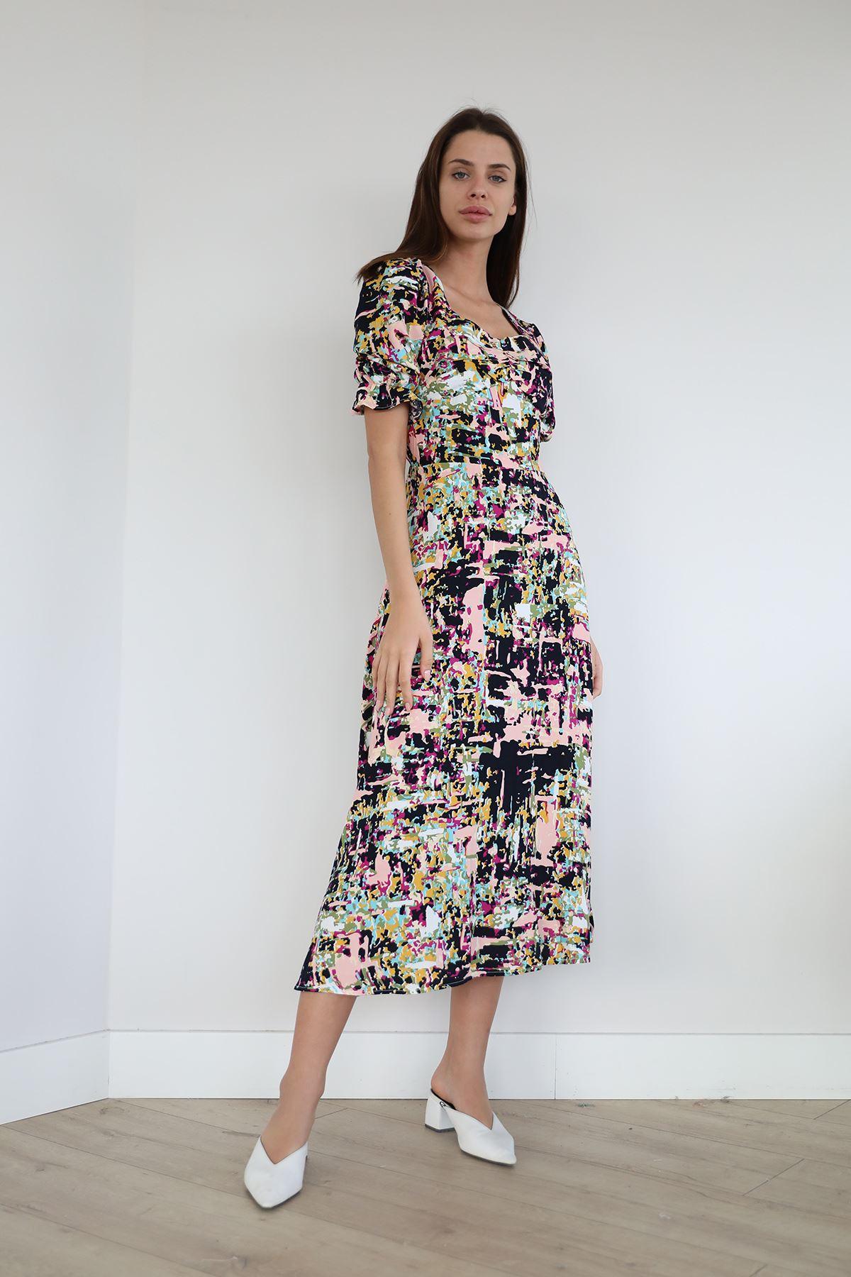 Desenli Salaş Elbise-Siyah