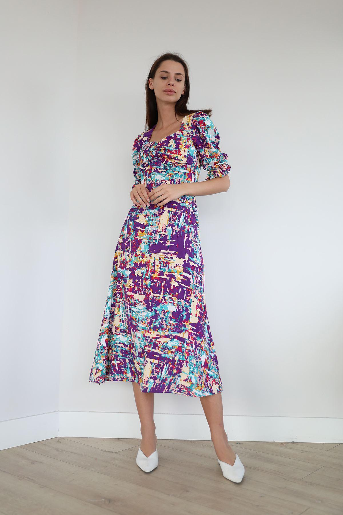 Desenli Salaş Elbise-Mor