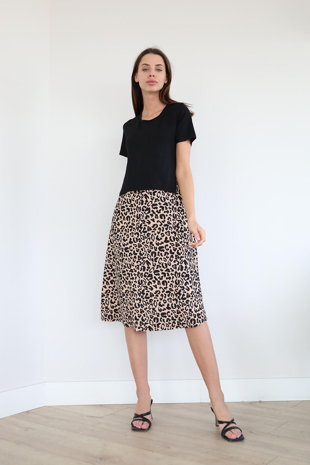 Kısa Kol Salaş Elbise-Bej