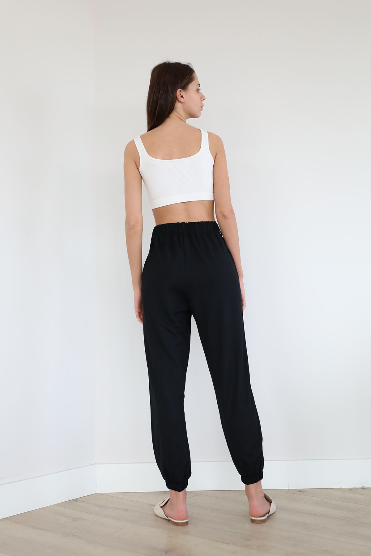 Paçası Lastikli Salaş Pantolon-Siyah