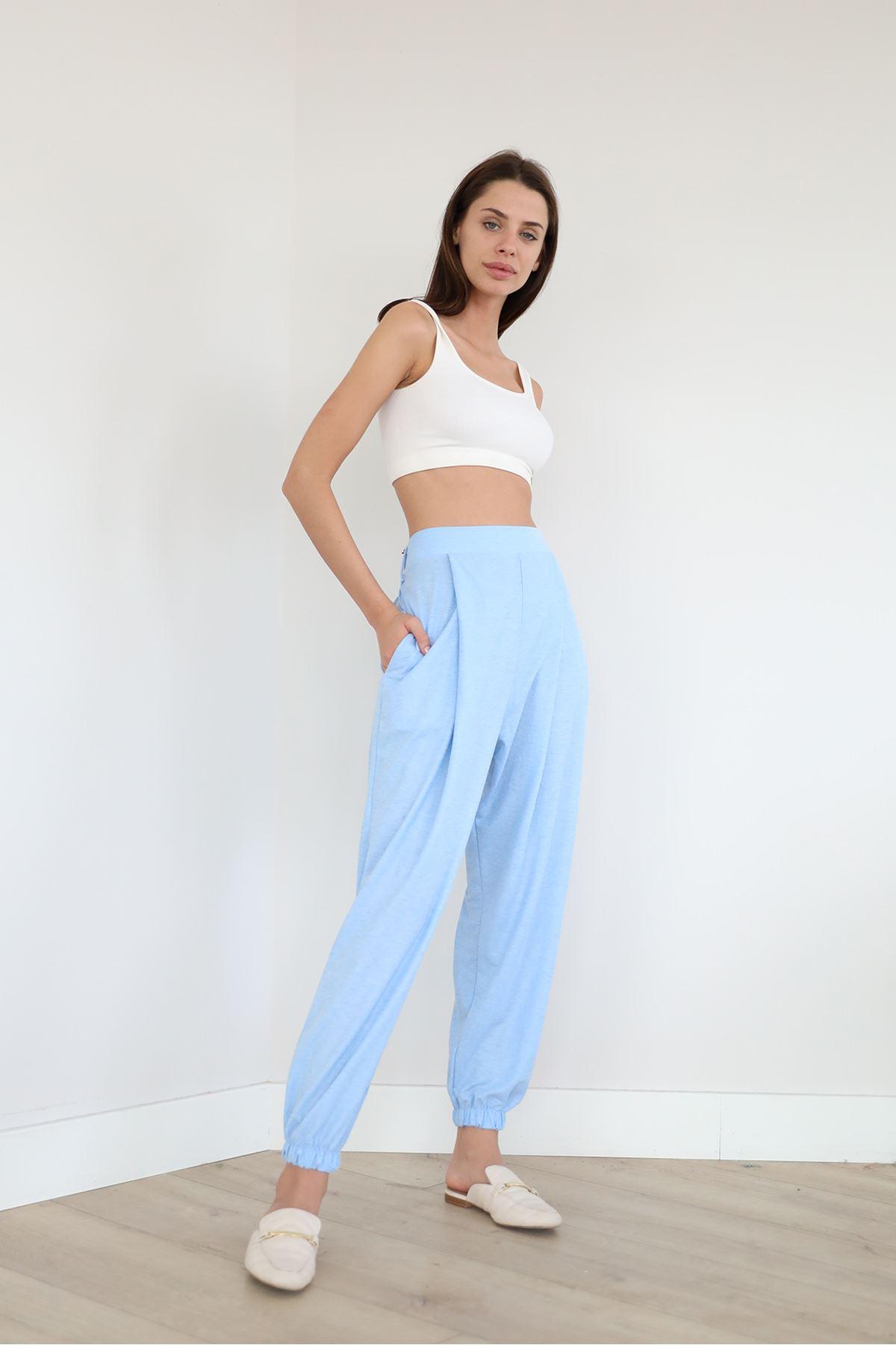 Paçası Lastikli Salaş Pantolon-Mavi