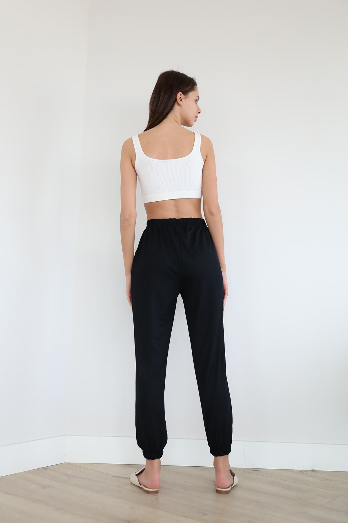 Beli Lastikli Salaş Pantolon-Siyah