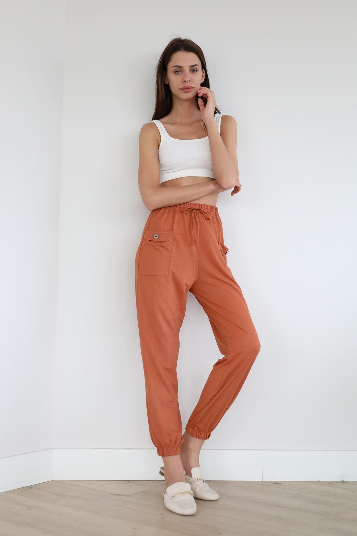 Beli Lastikli Salaş Pantolon-Kiremit