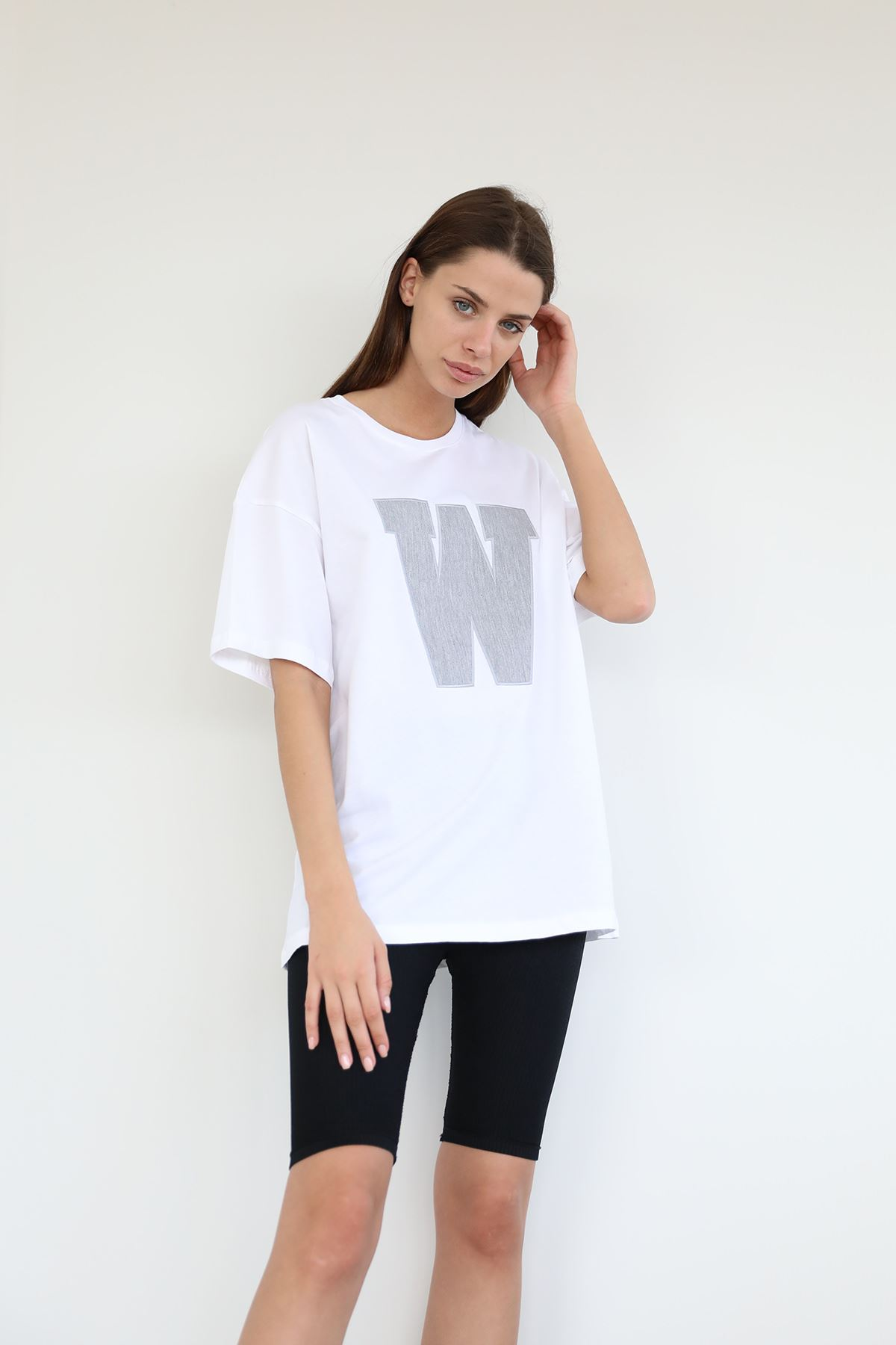 Baskılı Salaş T-shirt-Gri