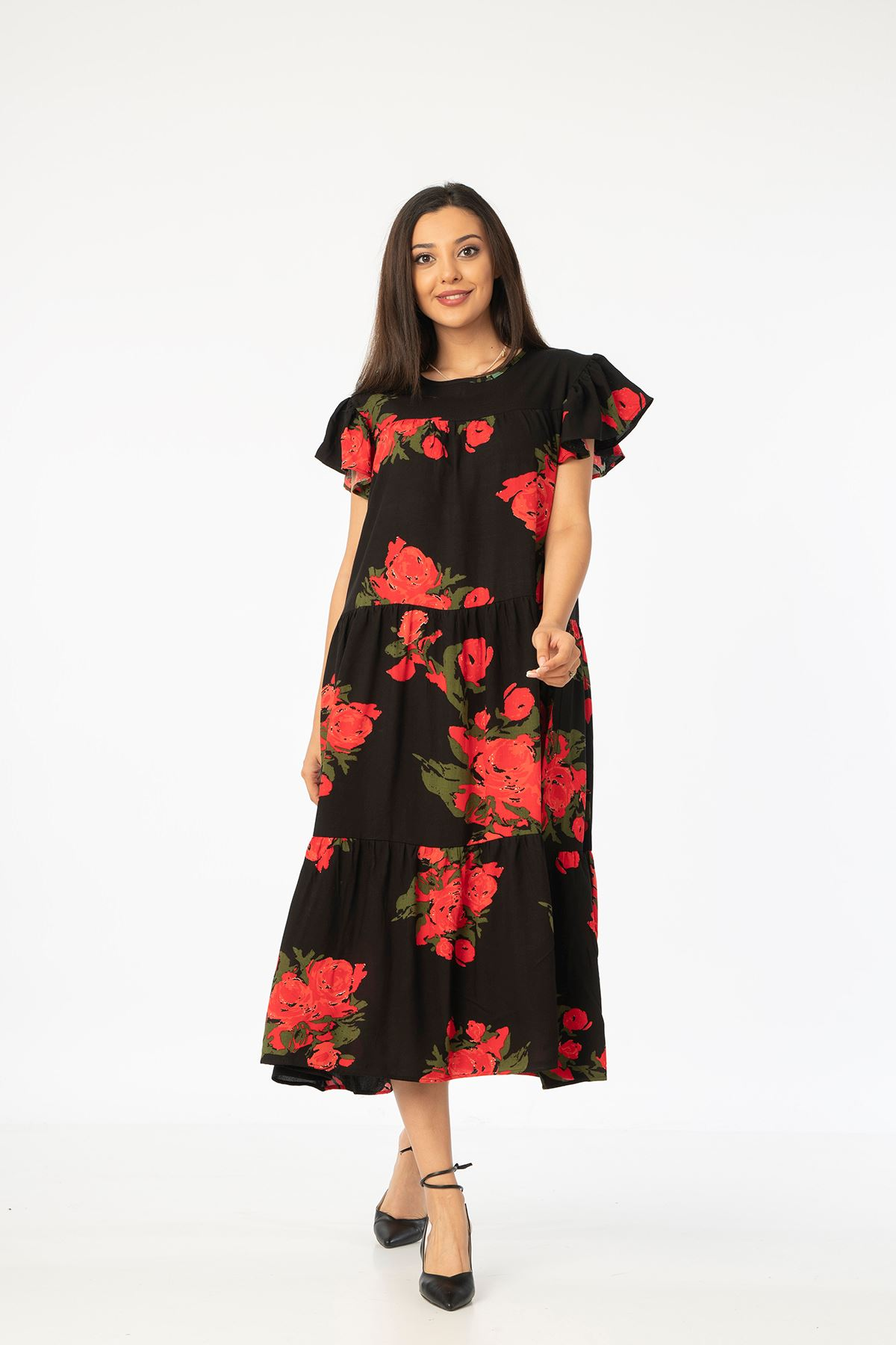 Gül Desen Salaş Elbise-Kırmızı