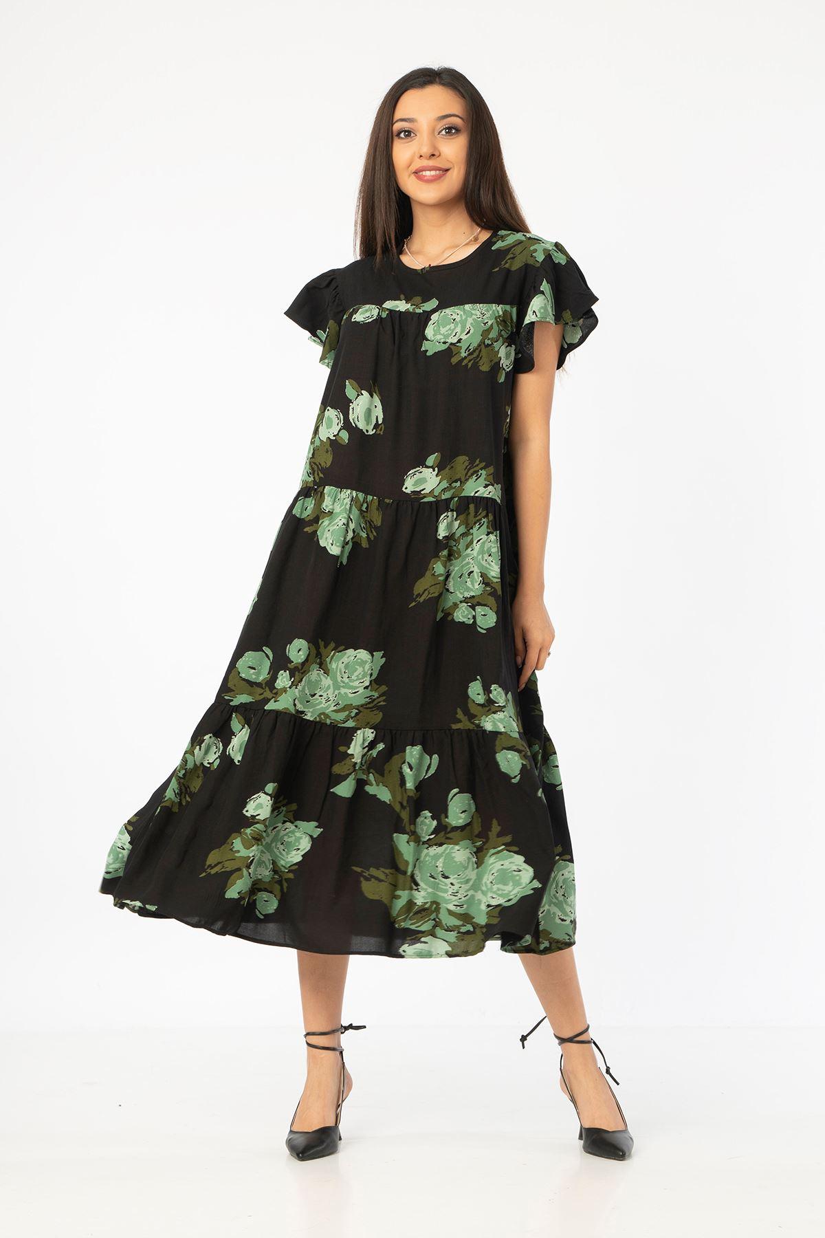 Gül Desen Salaş Elbise-Haki