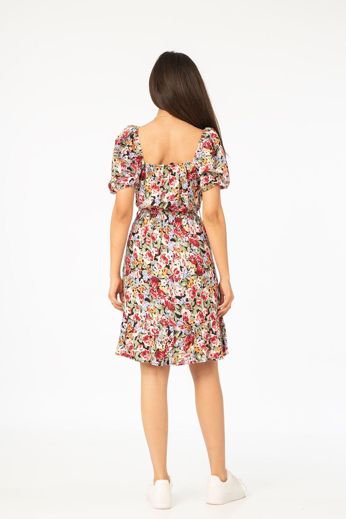 Kuşaklı Elbise-Haki
