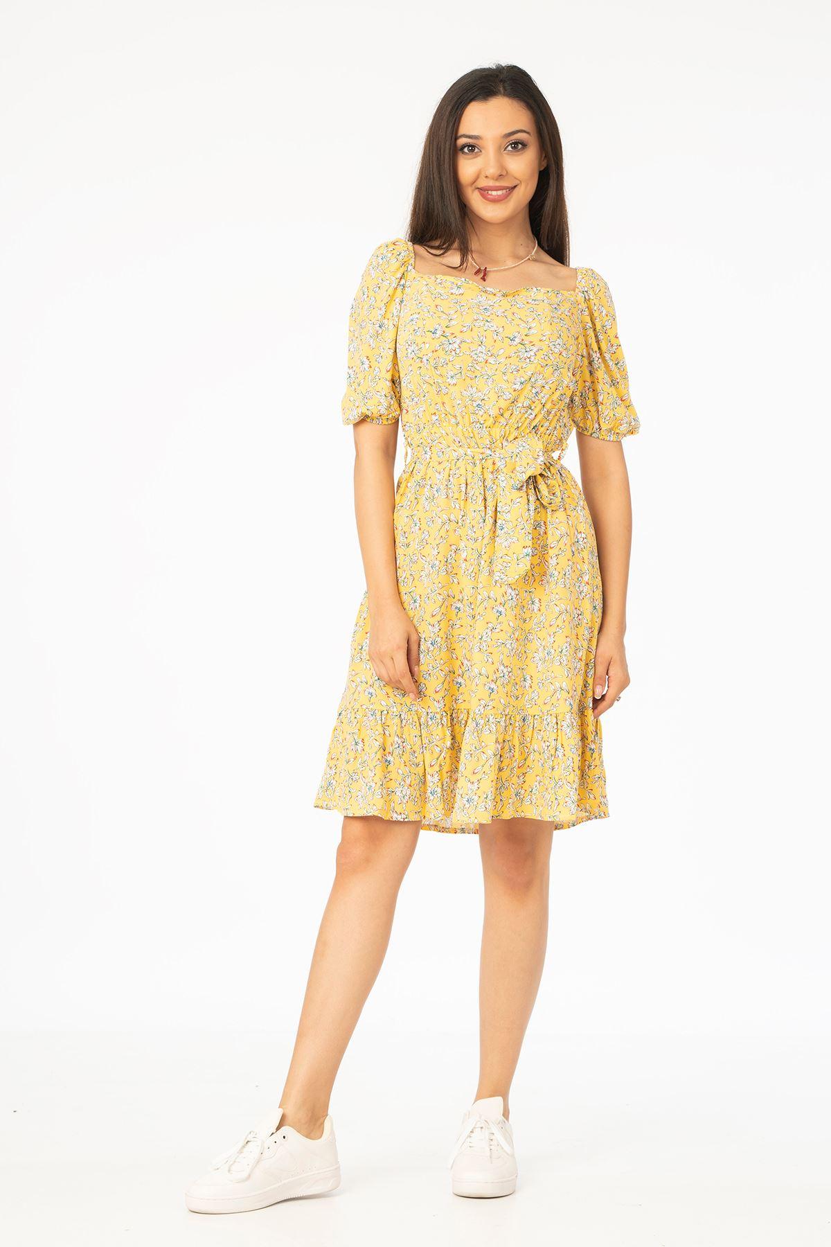 Kuşaklı Elbise-Sarı