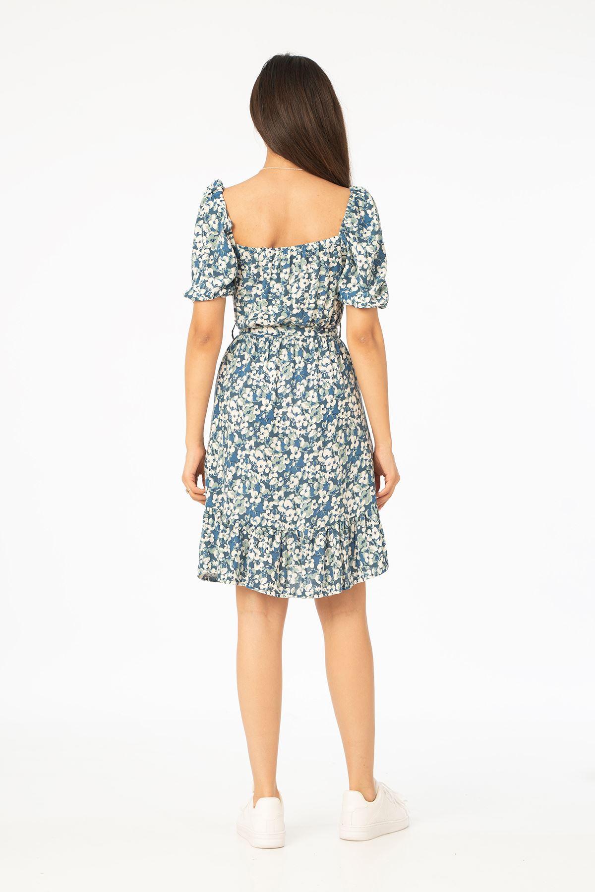 Kuşaklı Elbise-İndigo