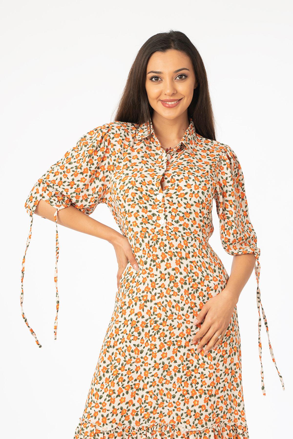Desenli Midi Elbise-Oranj