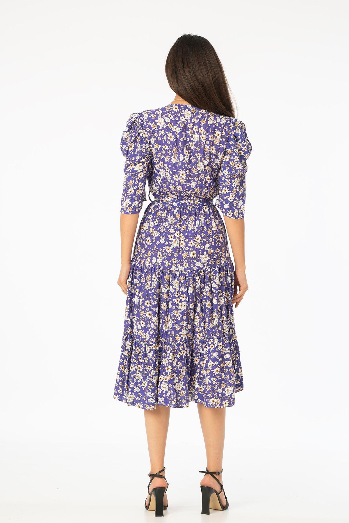 V Yaka Kuşaklı Elbise-Lacivert