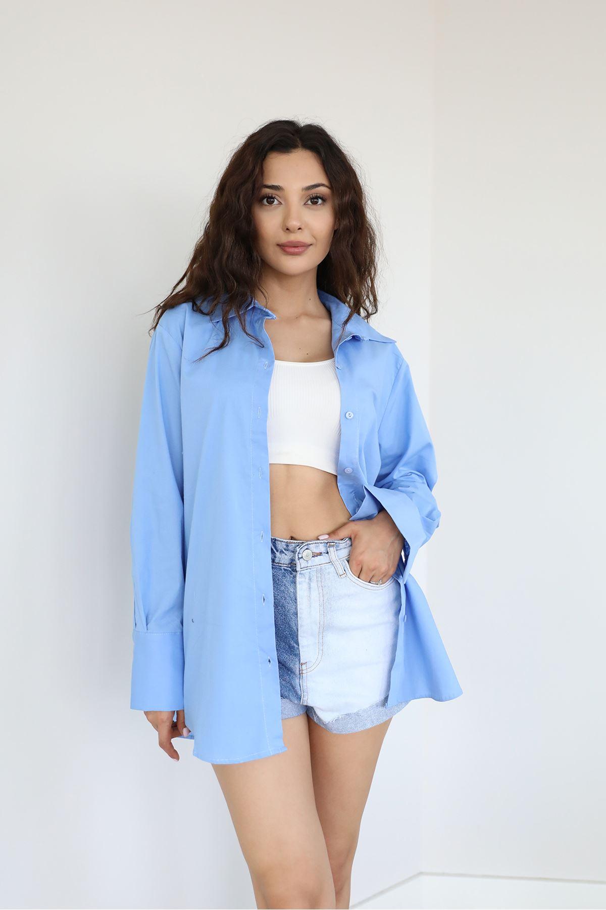 Oversize Gömlek-Mavi