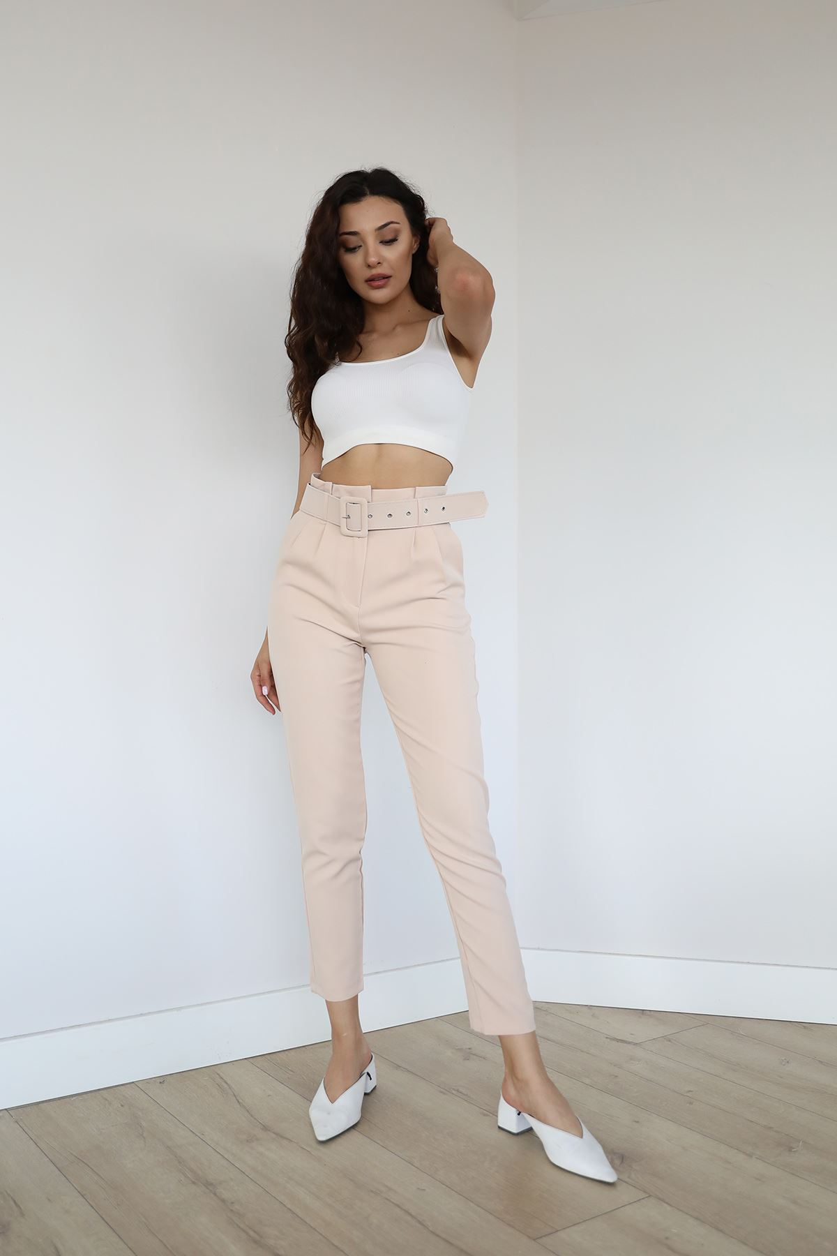 Bel Detay Kumaş Pantolon-Bej