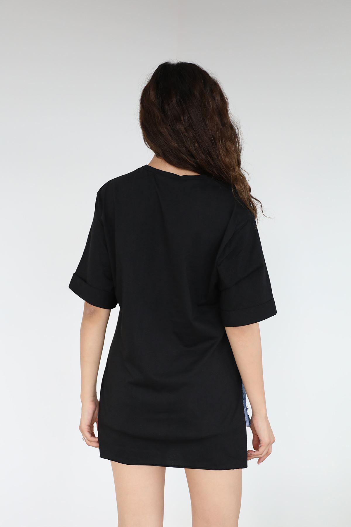 V Yaka Baskılı T-shirt-Siyah