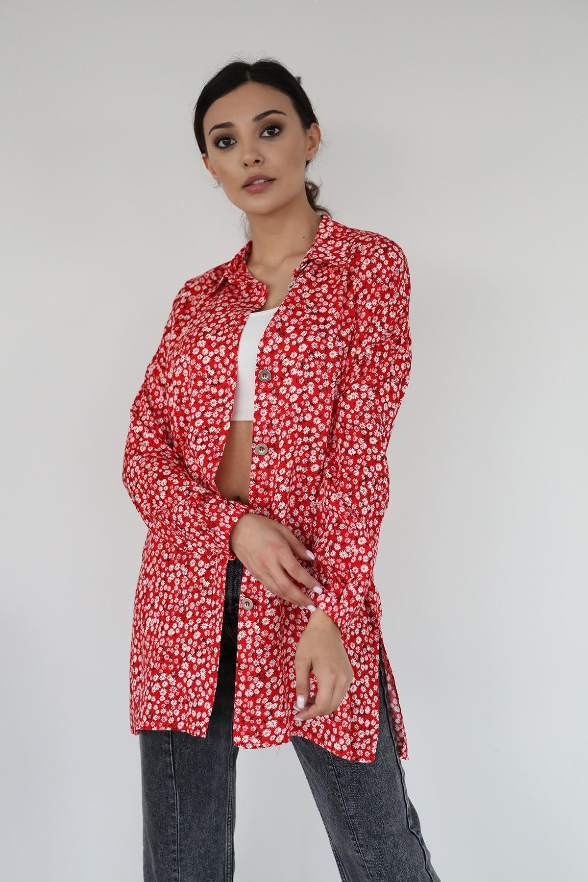 Papatya Desen Gömlek-Kırmızı