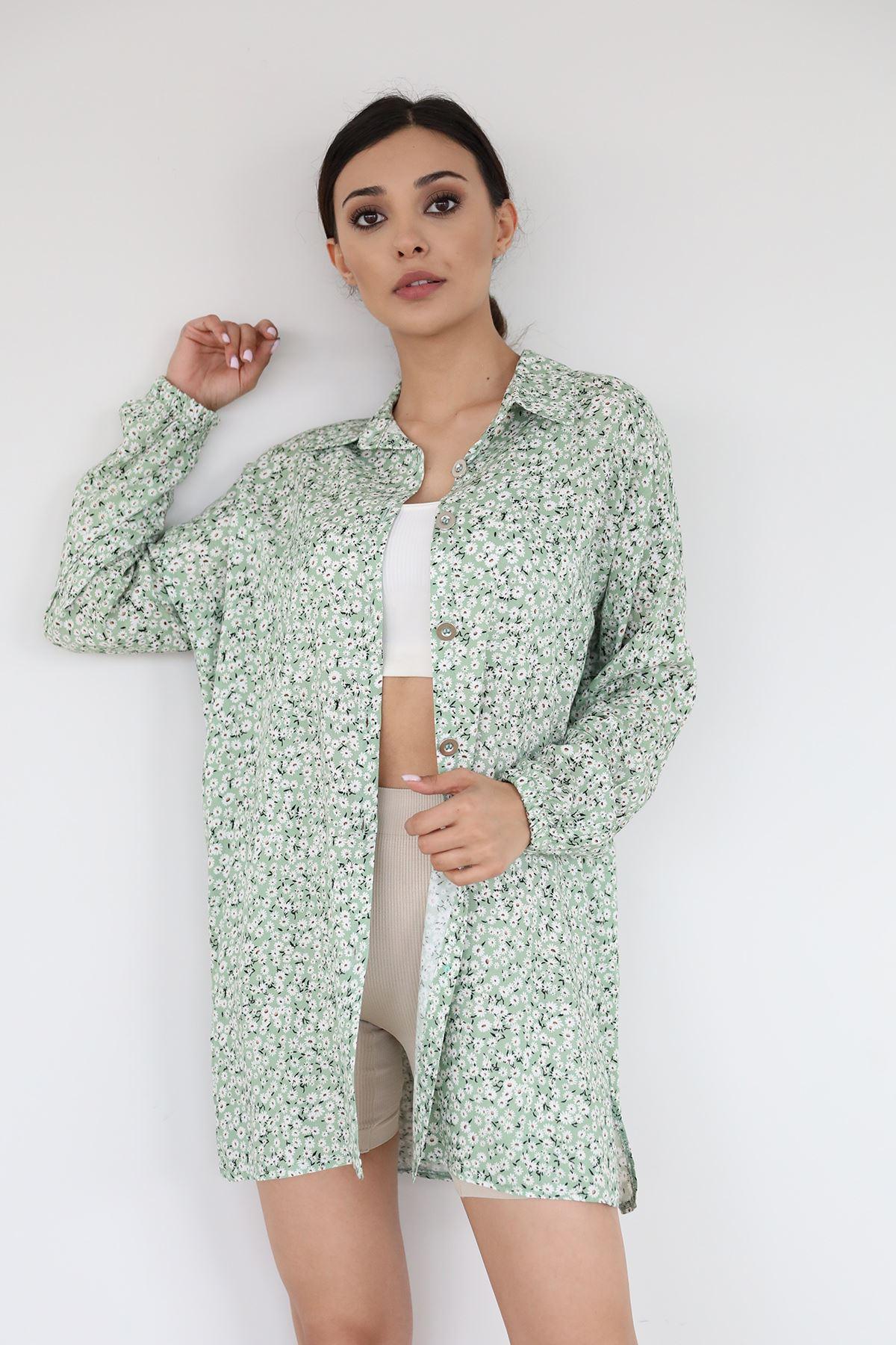 Papatya Desen Gömlek-Yeşil