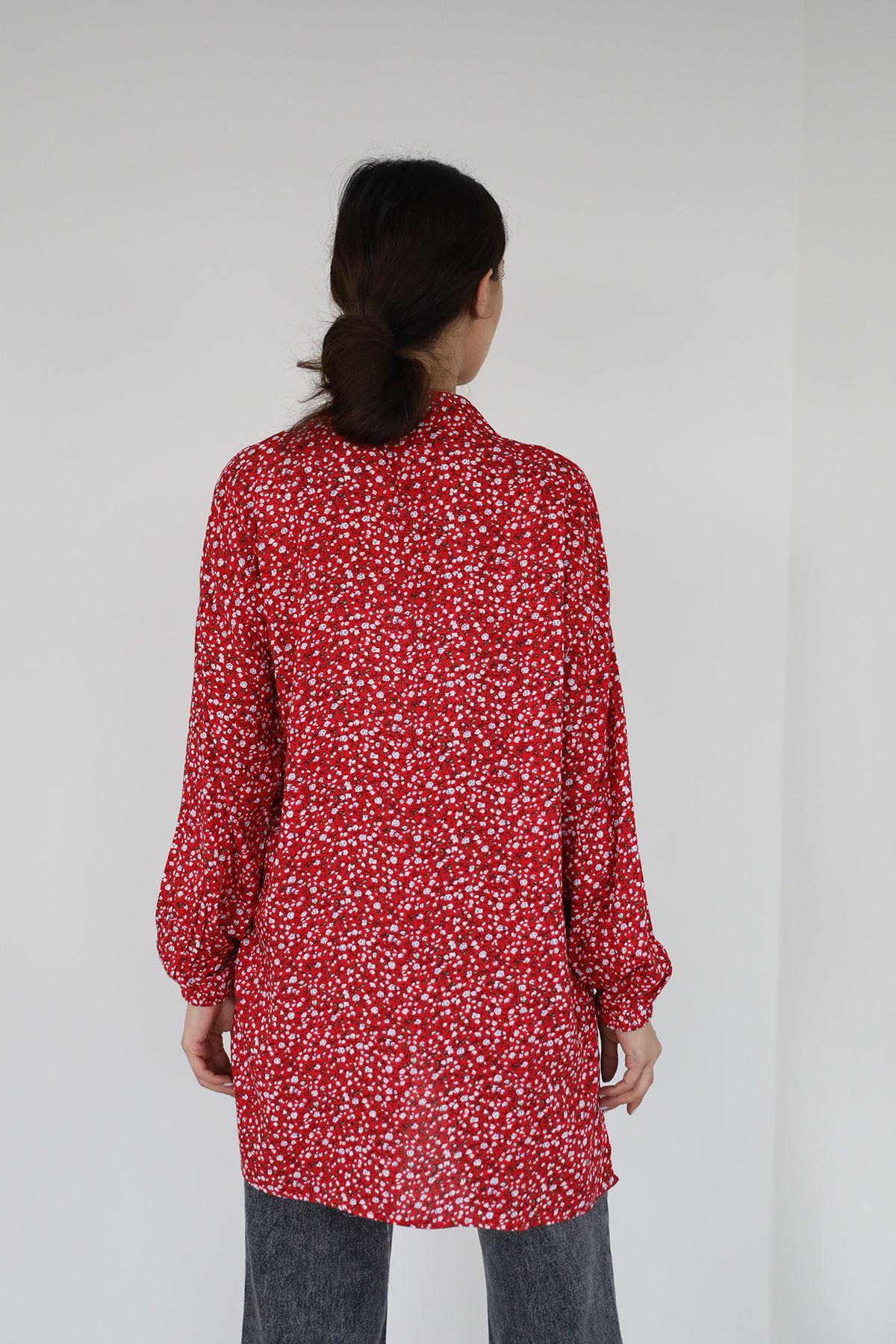 Desenli Gömlek-Kırmızı