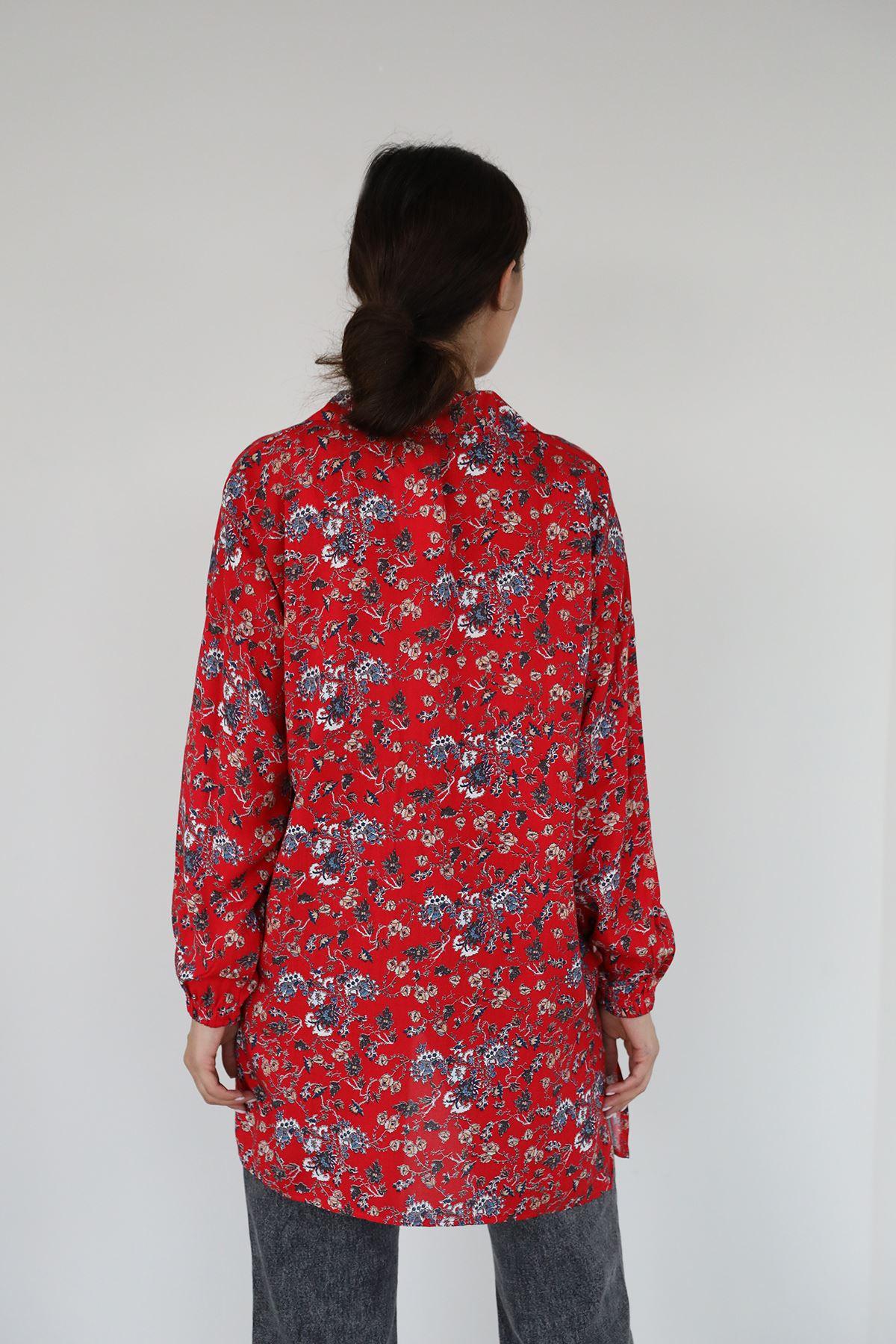 Şal Desen Gömlek-Kırmızı
