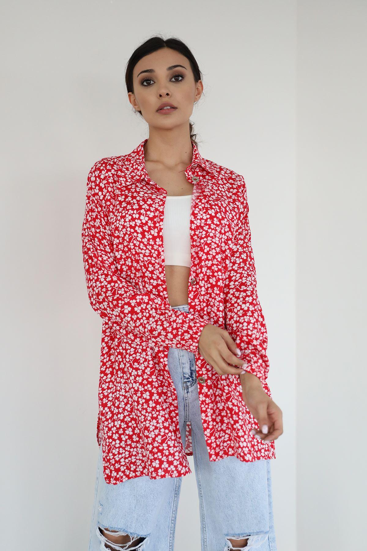 Yonca Desen Gömlek-Kırmızı