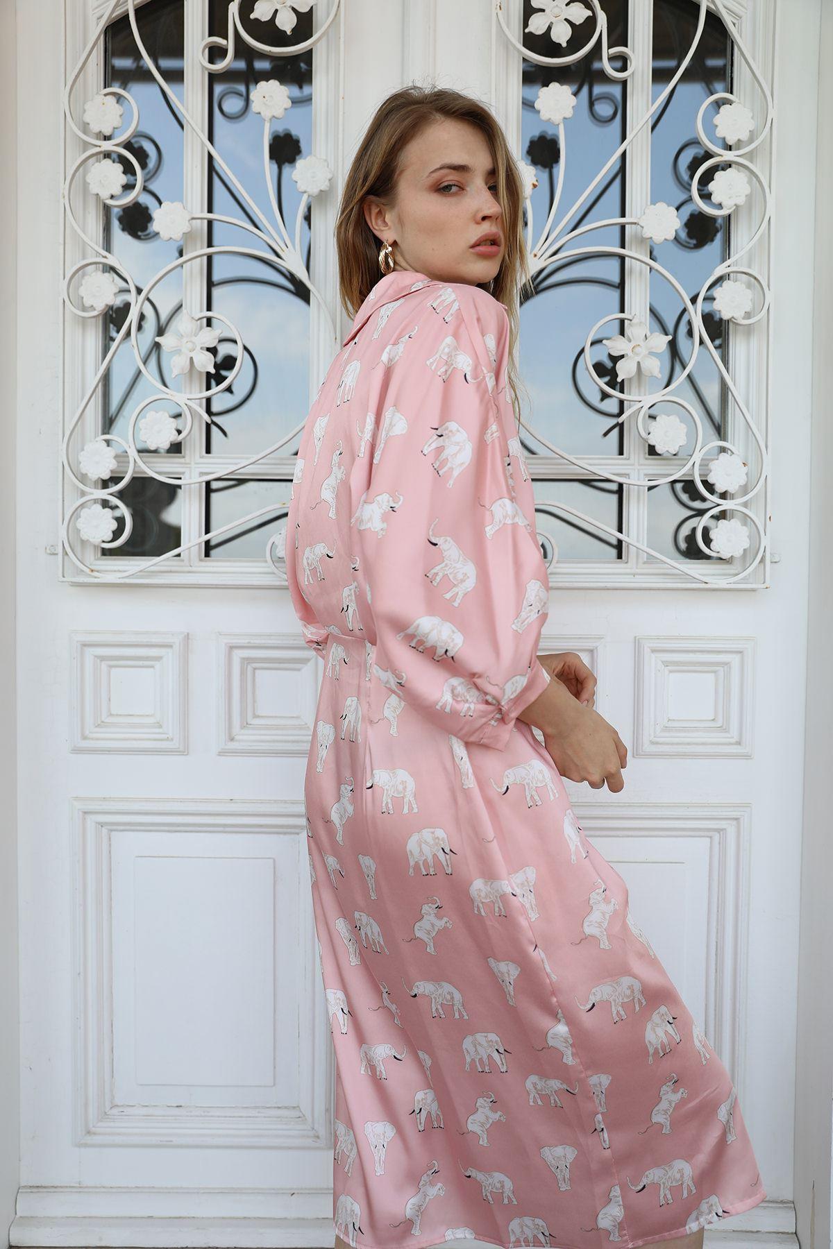 Saten Elbise-Pudra