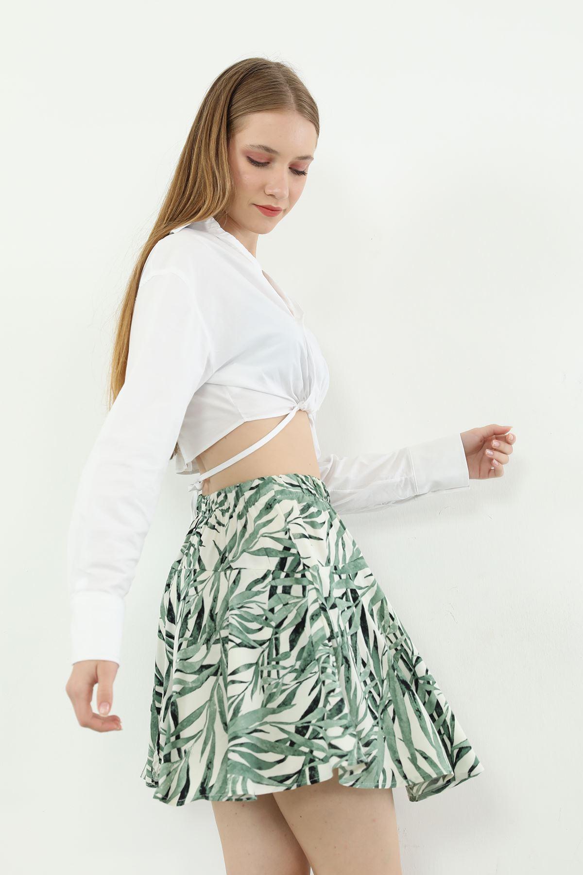 Palmiye Desen Şort Etek-Yeşil