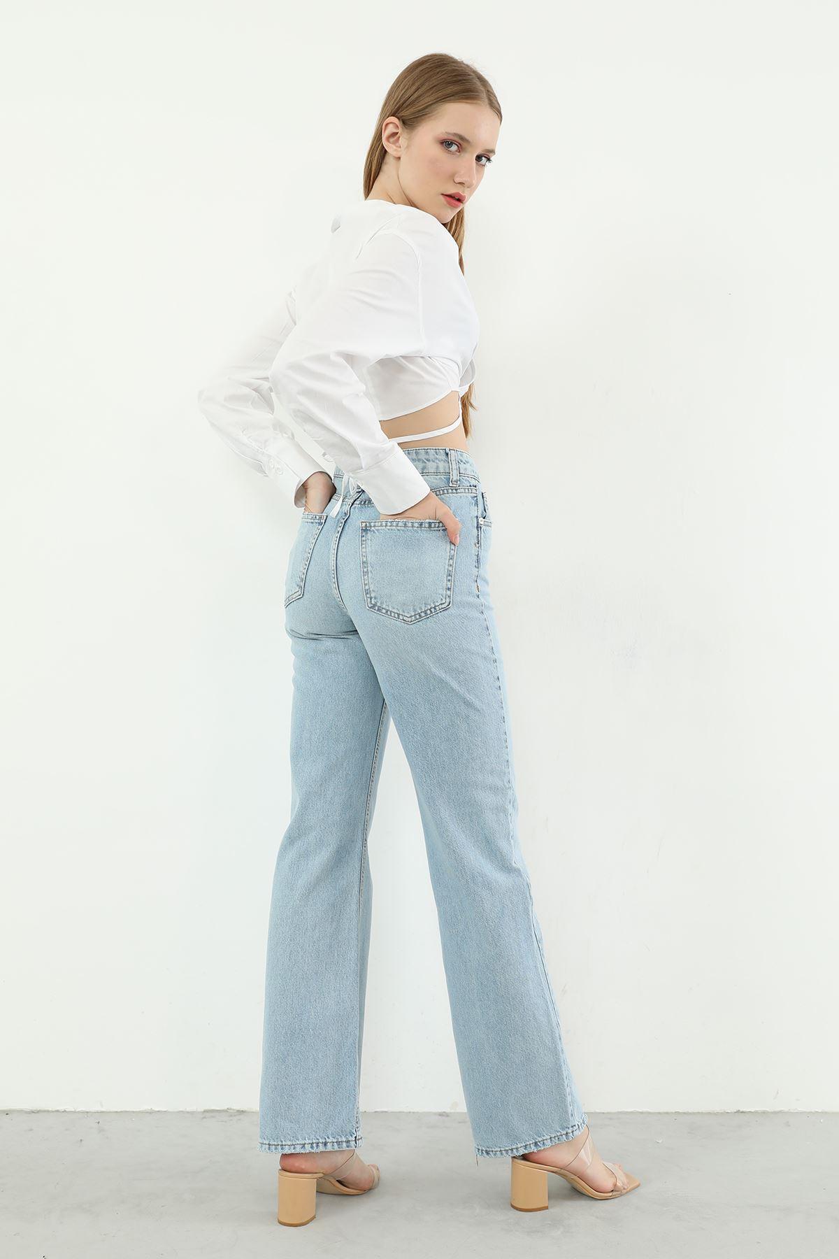 Asimetrik Detay Jean Pantolon-Mavi