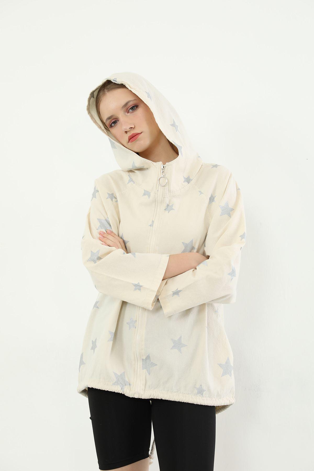 Yıldız Desen Fermuarlı Ceket-Bej